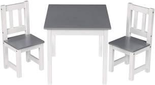Kindersitzgruppe Kindertisch mit 2 Stühle weiß-grau Modell Kelo