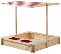 Beluga Spielwaren 'Sandkasten mit Wasser-Matsch-Bereich' 118 x 118 x 118 cm, ab 3 Jahren, inkl. höhenverstellbarem Dach