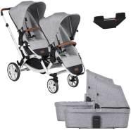 ABC Design Zoom Zwillingswagen Set - inkl Adapter und 2 Babywannen graphite grey