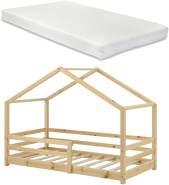 en. casa Kinderbett, 90 x 200 cm, mit Matratze und Rausfallschutz, natur
