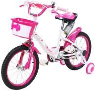 Actionbikes 'Daisy' Kinderfahrrad in Pink, 16 Zoll inkl. Schutzbleche, Stützräder, Korb und Trinkflasche