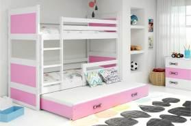 Stylefy Lora mit Extrabett Etagenbett 80x190 cm Weiß Rosa
