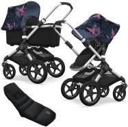 Bugaboo Fox Kinderwagen Birds / Black mit High Performance Fußsack, inkl. Gestell Alu