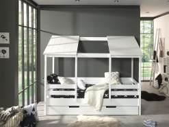 Vipack Hausbett mit 90 x 200 cm Liegefläche und Bettschublade, offenes Dach Weiß lackiert
