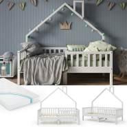 VitaliSpa 'Noemi' Hausbett weiß, 80x160cm, Massivholz Kiefer, inkl. Matratze, Lattenrost und Rausfallschutz