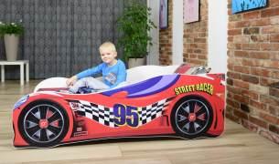 Lux4Kids 'Delfin' Autobett 70x140 cm, 95 Racing Red, mit Matratze und Lattenrost