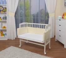 WALDIN Beistellbett mit Matratze, höhenverstellbar, Große Liegefläche, Ausstattung Gelb/Beige, Gestell Weiß lackiert