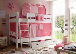 Ticaa 'Kenny' Etagenbett weiß inkl. Vorhang rosa/pink