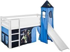 Lilokids 'Jelle' Spielbett 90 x 200 cm, Star Wars the Clone Wars, Kiefer massiv, mit Turm, Rutsche und Vorhang