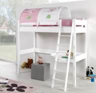 Relita 'RENATE' Multifunktionsbett mit Schreibtisch Bett weiß, Stoffset 'Prinzessin' inkl. Matratze