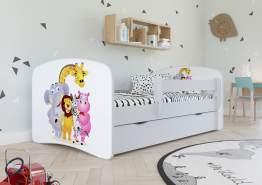 Kinderbett Jugendbett Weiß mit Rausfallschutz Schublade und Lattenrost Kinderbetten für Mädchen und Junge - Safari 70 x 140 cm