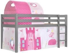 Vipack Spielbett 'Pino' grau mit Textilset Vorhang und Tunnel 'Princess'
