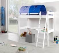 Relita Hochbett RENATE Buche massiv weiß lackiert, mit Schreibtisch und Tunnel, blau/delfin