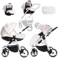 Friedrich Hugo - Easy Comfort - 3 in 1 Kombi Kinderwagen Komplettset - Farbe: White Black & Leatherette