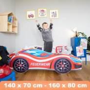 Alcube 'Feuerwehr' Autobett 140 x 70 cm inkl. Lattenrost und Matratze, rot