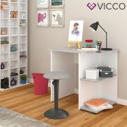 Vicco 'Simple' Schreibtisch, Beton/Weiß, mit 2 Fächern