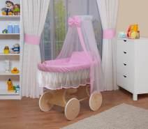 WALDIN Stubenwagen-Set mit Ausstattung Gestell/Räder natur, Ausstattung rosa/weiß