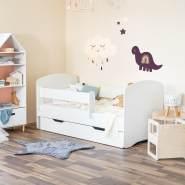 Alcube Kinderbett in weiß 180x80 cm mit Rausfallschutz, Schublade, Lattenost ohne Matratze