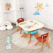 COSTWAY Sitzgruppe, 3tlg. Kindersitzgruppe, mit Aufbewahrungsboxen braun