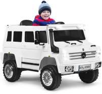 COSTWAY 12V Kinderauto mit 2,4 G Fernbedienung, Elektroauto mit 2 Geschwindigkeiten, Vorwaerts- und Rueckwaertsgang, LED Lichter, USB, Hupe und Musik, 2 Tueren zum oeffnen