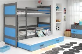Stylefy Lora mit Extrabett Etagenbett 80x190 cm Graphit Blau