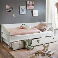 Relita Einzelbett 90x200cm mit Bettschublade MDF weiß lackiert LARVIK-13