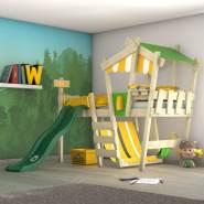 Wickey 'Crazy Hutty' Spielbett, Grün/Gelb, 90x200 cm, mit grüner Rutsche