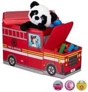 Relaxdays 'Feuerwehrauto' Staubox mit Deckel rot