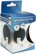 Idena 10002233 - Würfelbecherset aus Kunststoff, mit Filz gefüttert, ca. 7 x 12 cm, inklusive 5 Würfel, elfenbeinfarben, für spannende Würfelduelle und Spielspaß