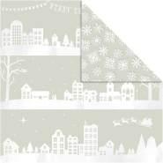 Design-Papier, Blatt 30,5x30,5 cm, 180 g, Häuser und Schneeflocken, 3Bl.