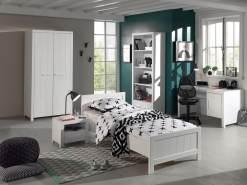 Vipack 'Erik' 5-tlg. Kinderzimmer-Set 90x200 cm, weiß, mit Bett, 2-trg. Kleiderschrank, Nachttisch, Regal und Schreibtisch