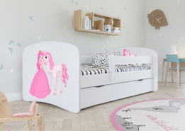 Kinderbett Jugendbett Weiß mit Rausfallschutz Schublade und Lattenrost Kinderbetten für Mädchen und Junge - Prinzessin und Pferd 80 x 180 cm
