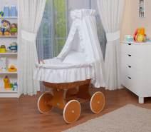WALDIN Stubenwagen-Set mit Ausstattung Gestell/Räder natur lackiert, Ausstattung weiß