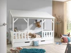 Vipack Hausbett 90x200 cm, weiß, Dach in weiß, inkl. Bettschublade