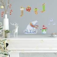 RoomMates Wandtattoo 'Weihnachten mit Eisbär und Schneemann'