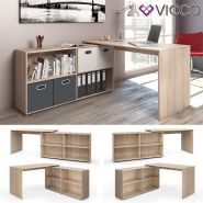 Vicco 'FlexPlus' Eckschreibtisch, Eiche/Sonoma, mit Sideboard, variabel anbringbar