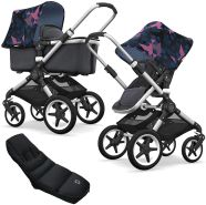 Bugaboo Fox Kinderwagen Birds / Steel Blue mit High Performance Fußsack, inkl. Gestell Alu