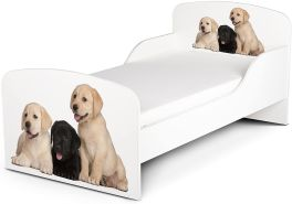 Leomark Kinderbett 70x140 cm, Hunde, mit Matratze und Lattenrost