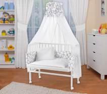 WALDIN Beistellbett mit Matratze und Nestchen, höhenverstellbar, Ausstattung Muster, Gestell Weiß lackiert