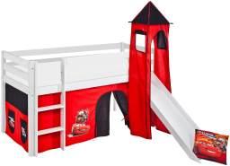 Lilokids 'Jelle' Spielbett 90 x 190 cm, Disney Cars, Kiefer massiv, mit Turm, Rutsche und Vorhang
