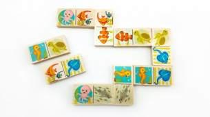 Domino Seepferdchen 28 Spielsteine Maße: ca. 12 x 8 x 3 cm NEU Erzgebirge Memory Legespiel Holzspiel