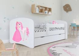 Kinderbett Jugendbett Weiß mit Rausfallschutz Schublade und Lattenrost Kinderbetten für Mädchen und Junge - Prinzessin und Pferd 70 x 140 cm