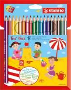 STABILO - Dreikant-Buntstift - STABILO - Trio dick - 18er Pack - mit 18 verschiedenen Farben und Spitzer
