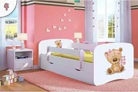 Kocot Kids 'Teddybär mit Blumen' Einzelbett weiß 70x140 cm inkl. Rausfallschutz, Matratze, Schublade und Lattenrost