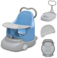 COSTWAY 6 in 1 Baby Stuhl Sitzerhoehung & Baby Walker & Bodensitz & Essgruppe & Rutschsitz & Duschstuhl mit feststellbaren Universalraedern, Sicherheitsgurt und abnehmbarem Tablett Blau