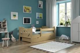 Kinderbettenwelt 'Chrisi' Kinderbett 80x160 cm, Natur, Kiefer massiv, inkl. Schublade, Lattenrost und Matratze