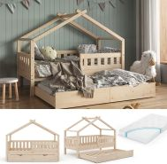 VitaliSpa 'Design' Hausbett 80x160 cm, natur, Kiefer massiv, inkl. Lattenrost, Matratze und Gästebett