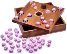 Pig Hole - 2. Wahl - für 2 bis 6 Spieler - Spielfeld 18 x 18 cm - Big Hole - Schweinchenspiel - Würfelspiel - Gesellschaftsspiel - Brettspiel aus Holz inkl. 60 Schweinchen
