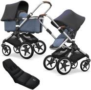 Bugaboo Fox Kinderwagen Steel Blue / Blue Melange mit High Performance Fußsack, Gestell Alu