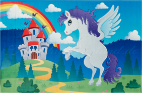 Böing Carpet 'Lovely Kids - fliegendes Pferd' Kinderteppich blau, 80x150 cm
